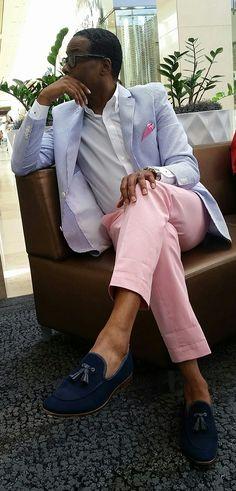 Seersucker Blazer with Pink Pants! Db2u wears it well!