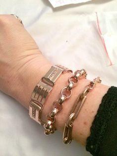 Bracelets - Arik Kastan Art Deco Square Link, Large Round Rollo, and Bar Link, all 14kt Rose Gold