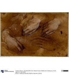 Federico Barocci - Hand Studies c.1579-82 (Studienblatt mit vier Händen für das Altarbild der Grablegung Christi); Staatliche Museen zu Berlin