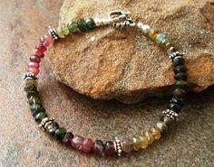 Handmade Bracelet, Beaded Jewelry, Faceted Tourmaline, Sterling Silver. $42.00, via Etsy.