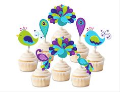 Peacock birthday cupcake toppers, peacock cupcake topper, peacock cake decoration, peacock party accessories