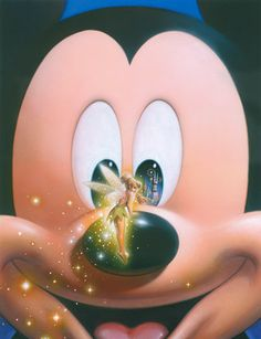Mickey Mouse and Tinkerbell.  Look in Mickey's eye on your right.  It's Cinderella's castle