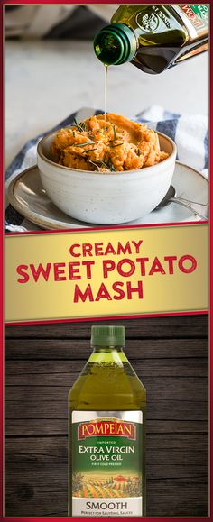 This Creamy Sweet Potato Mash recipe by will be your new holiday favorite! Don't forget to top it off with a drizzle of Pompeian Smooth Thanksgiving Recipes, Fall Recipes, Holiday Recipes, Great Recipes, Favorite Recipes, Vegetable Side Dishes, Vegetable Recipes, Mash Recipe, Cooking Recipes