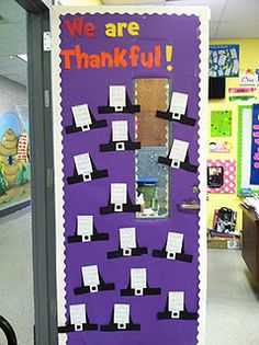 Cute classroom decor and fun idea for Thanksgiving project (shown on thumbnail picture).