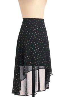 Your Best Boat Skirt - Mid-length, Black, Multi, Casual, Multi, Print, Nautical