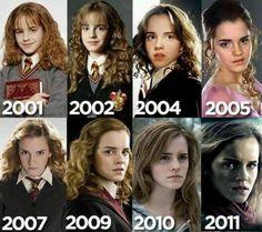 Hermione (Emma Watson),  from then til now