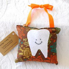 Boys Tooth Fairy Pillow in Brown and Orange by BoutiqueVintage72, $15.00