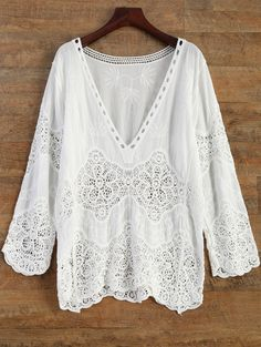 Crochet Plunge Beach Cover-Up Dress - WHITE ONE SIZE