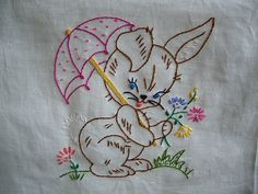 rabbit quilt square by sewclever, via Flickr