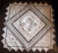 Hardanger piece stitched by Julie. Ivory fabric (25 ct. Lugana).  Caron floss.  Gorgeous!