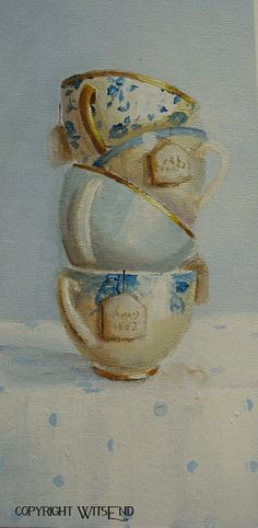 Tea Cups painting original ooak still life art FREE by 4WitsEnd