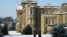 The south fron and east terrace garden in snow at Lyme, Cheshire (c) National Trust Images