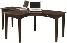 E2 Midtown Ergonomically Friendly T-Shaped Dual Desk with Comfortable Curve Seating & Four AC Outlets by Aspenhome - AHFA - L-Shape Desk Dealer Locator