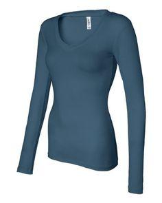 Bella V-neck Sheer L/S Longer-Length Tee Comes in Many Colors: http://www.amazon.com/Bella-V-neck-Sheer-Longer-Length-Colors/dp/B0033CLJM0/?tag=imfan-20