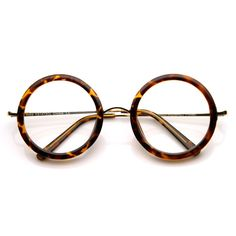 064375e332c Womens Round Clear Lens Oversized Glasses w  Metal Arms