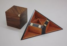 Two jewellery boxes Ex-one year student James @linard79 made. One in bog oak and pear wood and the other in walnut and sycamore.