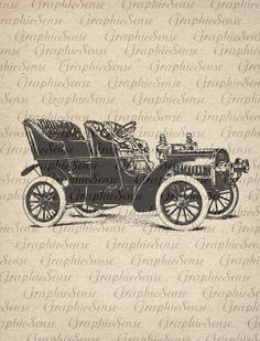 Retro Car Automobile  Printable Graphics Digital by GraphicSense, $1.00