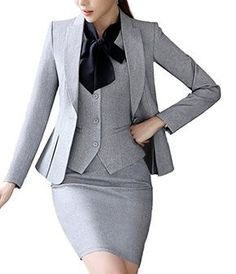 Sk studio womens 4 piece business skirt jacket pants dress set suits grey 4 you can get additional details at the image link Business Dresses, Business Outfits, Business Attire, Office Outfits, Office Wear, Work Fashion, Fashion Outfits, Mode Costume, Corporate Wear