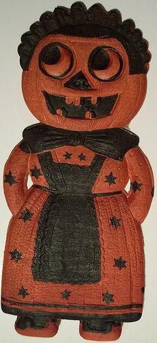 Vintage German Halloween Diecut Pumpkin Lady