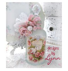 Beautiful Bejeweled Bottle 57 Arbor &  Pink Roses & White Doves Hand Decorated Bottle Originals By Lynn-pink, roses, shabby, chic, ruffles, Victorian, Vintage, Lynn, Barkcloth, PINK, cottage, white, Brundage,bottle
