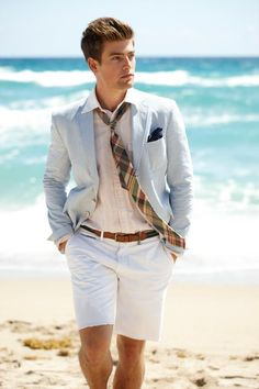 You're at the beach! Why, sir, do you have a shirt on? Let alone, a suit!?