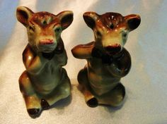 ANTIQUE EXTREMELY RARE TWINS FROM ELSIE THE COW 1950'S CERAMIC SALT & PEPPER SET
