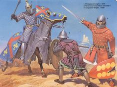 1. Portuguese knight, c.1350 2. Navarrese foot soldier mid 14th century 3. Aragonese knight, c. 1325