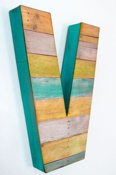 A & J with teal  Reclaimed Wood (Faux) Large Wall Letter - Custom by DebbieSaenz on Etsy