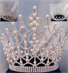 Beauty Pageant Rhinestone Full Pearls Crown