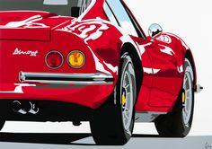 Ferrari Dino. Hand-cut vinyl art, by www.joelclarkartist.carbonmade.com