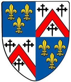 Coat-of-arms of Sir Hugh Kennedy who was a knight from Scotland & fought with the French & Joan of Arc as part of the Auld Alliance. Kennedy was one of thousands of Scots who arrived in 1420 to help Charles VII fight their common enemy the English. He distinguished himself at the battles of Baugé & Verneuil & was rewarded by Charles VII with the right to display a quarter of France (the fleur-de-lis on blue) on his coat-of-arms. Kennedy fought with Joan of Arc at the battle of Orleans…