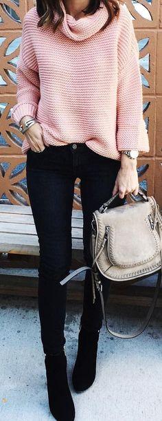 Pink sweater, black skinny jeans & boots, taupe handbag