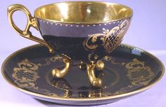 Image detail for -Chic Chateaux : Royal Vienna singed, unusual legged cup and saucer set