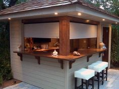 Creative Patio/Outdoor Bar Ideas You Must Try at Your Backyard Planning To Build A Shed? Now You Can Build ANY Shed In A Weekend Even If You've Zero Woodworking Experience! Start building amazing sheds the easier way with a collection of shed plans! Pool Bar, Backyard Retreat, Backyard Patio, Backyard Ideas, Patio Ideas, Gazebo Ideas, Garden Ideas, Back Yard Shed Ideas, Garden Shed Lighting Ideas