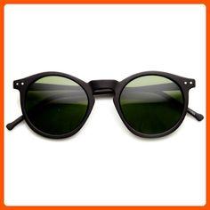 e063d010d9a zeroUV - Retro Horned Rim P3 Keyhole Round Horn Rimmed Sunglasses  (Matte-Black Green