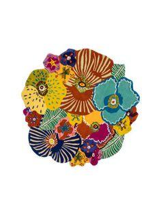 Tappeto-bouquet Oxley multicolore  85% lana  Ø150 cm