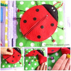 Quiet book connect the string on the backside of the grommet with a button. So the kiddos can't pull the lady bugs off.