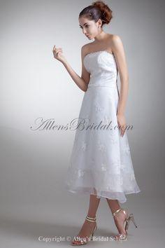 Organza and Satin Strapless Neckline Tea-Length A-line Embroidered Wedding Dress