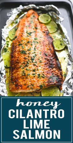 Baked honey cilantro lime salmon in foil is cooked to tender, flaky perfection i. Baked honey cilantro lime salmon in foil is cooked to tender, flaky perfection in just 30 minutes with a flavorful garlic and honey lime glaze. Salmon Dishes, Fish Dishes, Seafood Dishes, Seafood Recipes, Cooking Recipes, Healthy Recipes, Meals With Salmon, Cod Fish Recipes, White Fish Recipes