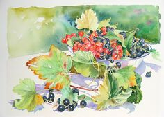 leaves and berries Watercolor Disney, Watercolor Fruit, Watercolor And Ink, Watercolor Flowers, Watercolor Paintings, Cassis Fruit, Collages, Silk Painting, Types Of Art