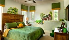 John Deere bedroom with barn and tractor mural