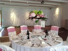 Dusky pink chair ribbons