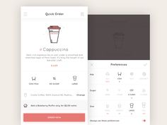 A couple of screens from an app for ordering coffee quickly.
