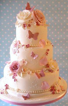 Pink Rose Garden wedding cake by nice icing, via #Wedding Cake| http://specialweddingcakeideas.13faqs.com