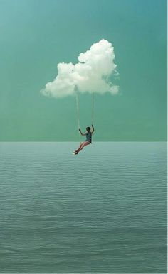 Imagine you are always in a cloud floating away into you imagination and dreams. What would you dream about? What would you imagine? Photomontage, Fantasy Kunst, Art Plastique, Photo Manipulation, Belle Photo, Daydream, Collage Art, Collages, Art Photography