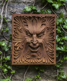 Add dramatic classic style to your garden with the Campania International Goodfellow Wall Plaque hung proudly. This stunning wall plaque is made to. Garden Fountains, Garden Statues, Cast Iron Tub, Tree Faces, Animal Heads, Green Man, Wall Plaques, Fantasy Creatures, Box Art