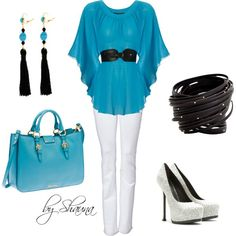 Aqua belted kimono top .. how cute!, created by shauna-rogers on Polyvore