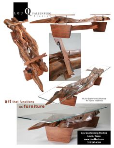 Mesquite furniture currently available by Lou Quallenberg Studios, art that functions as furniture, handmade in the Texas Hill Country Studio Furniture, Wood Furniture, Fine Woodworking, Woodworking Projects, Live Edge Table, Wood Slab, Joinery, Art Studios, Wood Art