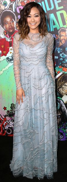 Karen Fukuhara in a pale blue Valentino dress - click through to see more of the Suicide Squad star's best outfits