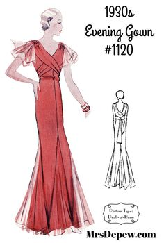 This ruffle-sleeved gown has a skirt slashed with tulle godets and a draped sash that ties in the back. The gown may also be made sleeveless. While it appears to be a classic bias-cut gown, this dress is actually cut on the straight grain. Dress Sewing Patterns, Vintage Sewing Patterns, Formal Dress Patterns, Paper Patterns, Sewing Ideas, 1930s Fashion, Vintage Fashion, Vintage Couture, Evening Gown Pattern